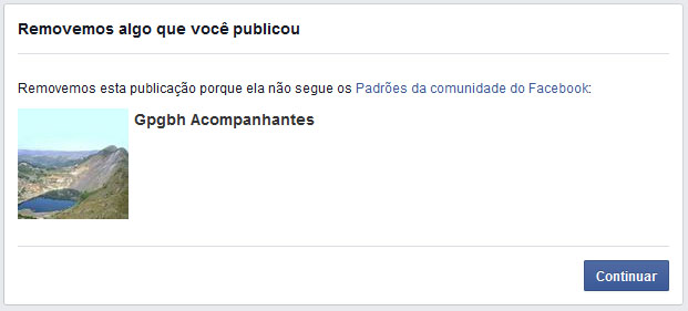 Lagoa censura.  A imagem da lagoa foi removida, porque não segue os padrões da comundade do Facebook.